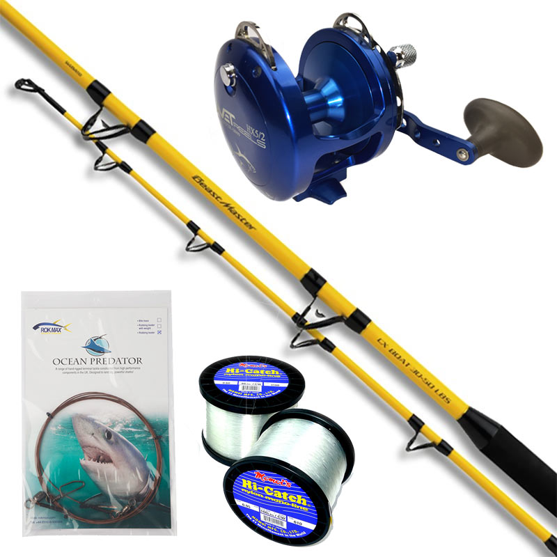 Shark fishing rod reel line combo tackle outfits rok max for Shark fishing rods