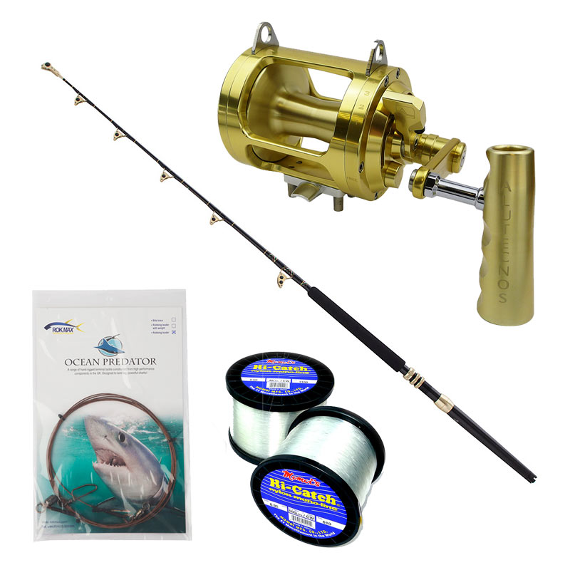 Shark fishing rod reel line combo tackle outfits rok max for Shark fishing rod